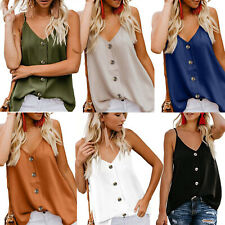 Womens V-Neck Vest Tank Tops Button Down Strappy Summer Causal Beach Blouse Cami