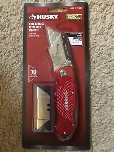 HUSKY FOLDING UTILITY KNIFE Cutting Knife NEW RED - Box Cutter - Shipping Today