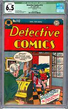 DETECTIVE COMICS #112 CGC 6.5 CLASSIC *GOLDEN AGE BATMAN CVR* SWAN ROUSSOS 1946