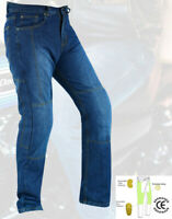 Mens Motorcycle Jeans New Motorbike Blue Pants Trousers with CE Armour
