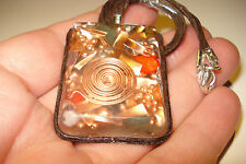 ORGONE  ENERGY  PENDANT  35x40mm  COPPER  AND  REAL JEM  STONES