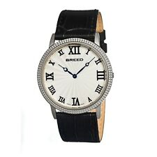 Breed 2201 George Swiss Made Ultra Slim Silver Dial Men's Dress Watch $800 NEW