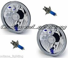 "7"" Halogen H4 Headlight Light Bulb Euro Diamond Crystal Clear Glass Headlamp Pr"