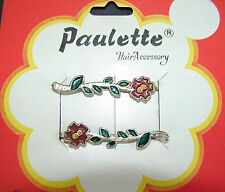Vintage Barrette -  Hand Painted Red and Green flower bobby pins - 1950's