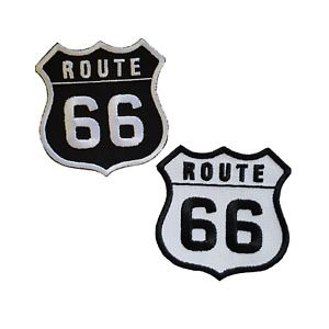 Route 66 Embroidered Patches Iron Sew On Bag Jeans Biker Jacket Badge Applique