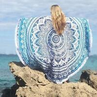 Round Mandala Beach Towel Tassel Beach Yoga Mat Table Cloth Wall Tapestry Blue