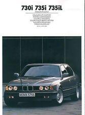BMW 730i 735i 735iL Farben Polster Prospekt Mj 1988 color Autoprospekt Broschüre