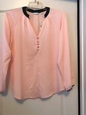NWT New York & Co. Pink W/ Black Trim L/S V-Neck Sz Large Blouse!