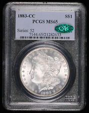 1883 CC MORGAN SILVER DOLLAR COIN PCGS MS65 CAC