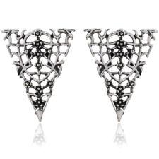 Small Ethnic Stud Earrings Tribal Aztec Triangle Hippy Boho VTG Silver Tibetan