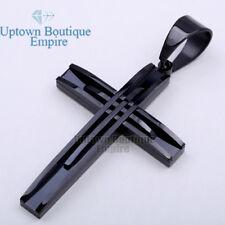 02 Men's Stainless Steel Black Cross Pendant