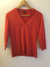 Lafayette 148 New York Red Wool V-Neck Sweater, Size Small
