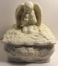 Ceramic Unpainted Jewelry Box with Angel on Top, With Floral Decorations.