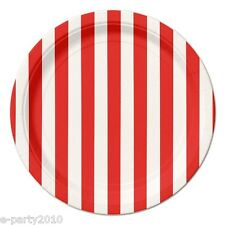 RED STRIPES SMALL PAPER PLATES (8) ~ Birthday Party Supplies Cake Dessert White