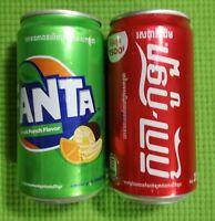 1 Coca-Cola and 1 Fanta, Empty Cans Cambodia Khmer Original Taste 250ml open