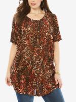 Roamans ladies tunic blouse top plus size 14 20 24 38 animal print crinkle crepe