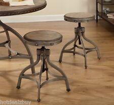Metal Adjustable Industrial Stool Swivel Set of 2 Kitchen Height Seat Rustic Bar