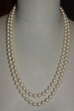 VENDOME Faux Glass Pearl Clear Rhinestone Wedding Dual Strand Necklace Vintage