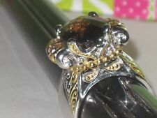 "Gems en Vogue II Sterling Smoky Quartz & Orange Sapp Ring s10 New ""work of art"""