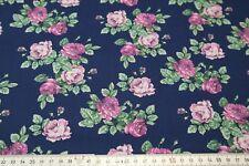 7,90€/m Stoff Baumwolle Popeline little Darling Rosen auf blau