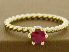R253 Genuine 9ct 14K 18K Yellow White Rose Gold Ruby Stackable Rope Twist Ring