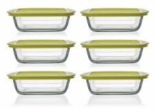 Thomas So Clear - Set of 6 Glass Square Storage Dishes with Lids - 1L, Green