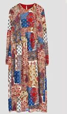 ZARA Patchwork Floral  Long Sleeve Midi Dress Folk Boho XS BNWT