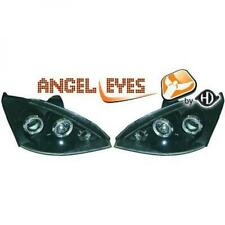 LHD Projector Headlights Pair Angel Eyes Clear Black For Ford Focus 98-01