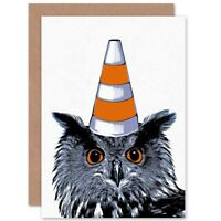 Painting Owl Wearing Traffic Cone Glasgow Style Blank Greeting Card