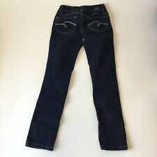 Justice Sz 10 Jeans Blue Denim Mid Rise Super Skinny Dark Wash Stretch Girls