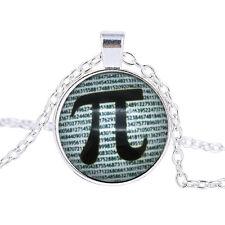 Vintage PI charm Cabochon Tibetan Silver Glass Chain Pendant Necklace BX329