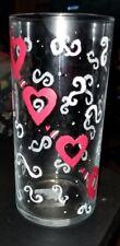 floating candle holder glass vase pink hearts hand painted 20 fl oz