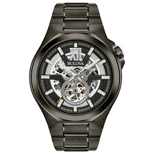 Bulova Men's Automatic Skeleton Dial Black Grey Bracelet 46mm Watch 98A179