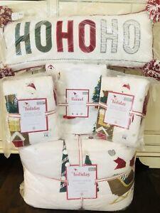 Pottery Barn Kids Merry Santa Queen Quilt Shams Sheet Set Ho Ho Ho Christmas 8pc