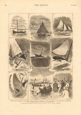 1880 antica stampa-yachting-ROUND il mouse luce in un dieci Tonner