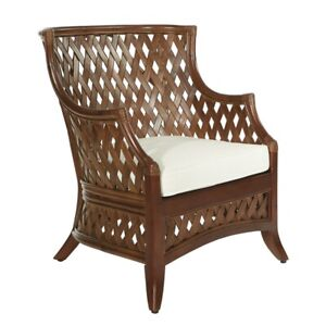 Kona Chair with Cream Cushion and Brown Washed Rattan Frame