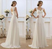 2017  New White/Ivory Wedding Dress Bridal Gown stock Size:6 8 10 12 14 16 18 KU