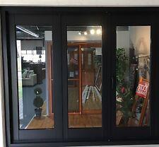 ALUMINIUM BIFOLD DOORS 3 PANEL, NEW 2410 x 2100h, BLACK PRE ORDER