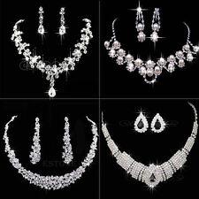 Vogue Prom Wedding Bridal Silver Jewelry Crystal Rhinestone Necklace Earring Set