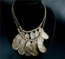 Women Retro Beads Chain Bib Necklace Collar Charm Vintage Feathers Leaf Pendant
