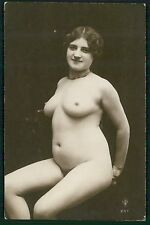 hh French full nude model woman original c1910s gelatin silver photo postcard