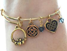 Gold Plated Claddagh Friend Celtic Knot Heart Charm Bracelet Scottish Irish