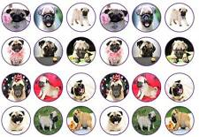 24 Cute pug dogs small dog puppies cupcake toppers birthdays party edible paper