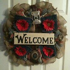 """Handmade OOAK Western WELCOME Spring Summer Burlap 24"""" Wreath"""
