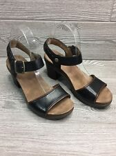 Dansko 9550027200 Women Debby Black/Brown Strap Heel Sandals EU38/US7.5-8 #318