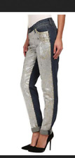 CJ COOKIE JOHNSON KEEPER BOYFRIEND in STARSHIP sequined front stretchy 27 NWOT *