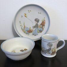 Vintage Dream Weavers Childs Plate Set Blue Boy Denby England Mushrooms Boho