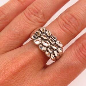 925 Sterling Silver Vintage Kabana Nugget Design Ring Size 10