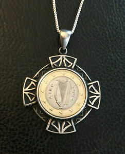 """Sterling Silver Coin Necklace Euro Eire Irish Celtic Milor Italy 24"""" 23g #1556"""