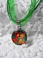 Interchangeable 18mm Disney Bambi Snap Charm On Orang Ribbon Cord Necklace N 589